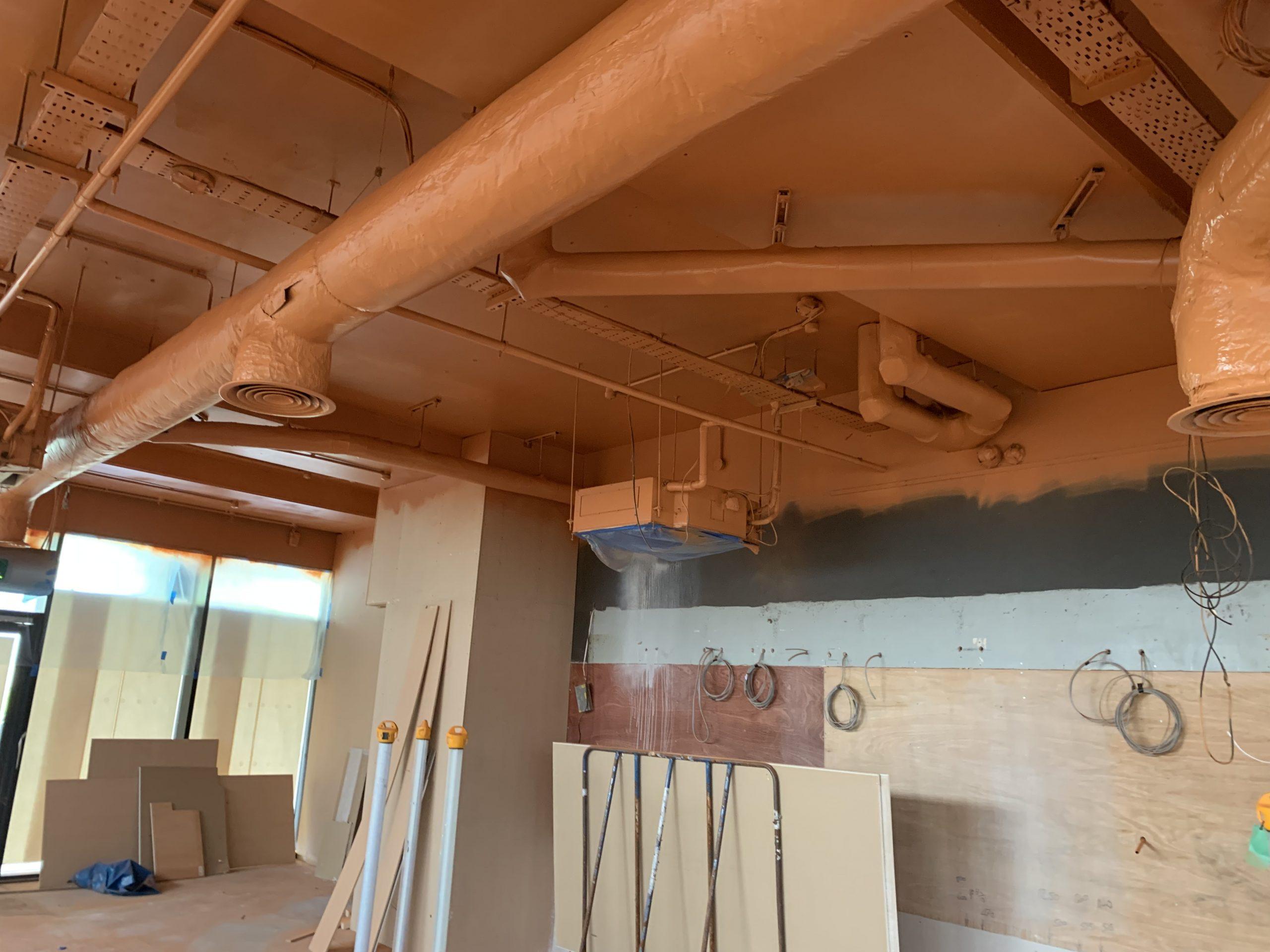 Inside Starbucks roof paint job